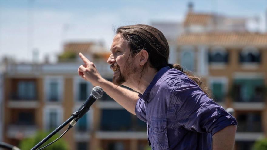 El líder del partido español Podemos, Pablo Iglesias, en su mitin en la ciudad de Sevilla (sur), 18 de mayo de 2019. (Foto: Efe)