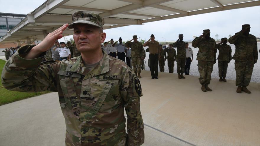 Las tropas estadounidenses presentes en la ceremonia de inauguración de la base militar de EE.UU. en la zona Pyeongtaek (Corea del Sur), 29 de junio de 2018. (Foto: AFP)