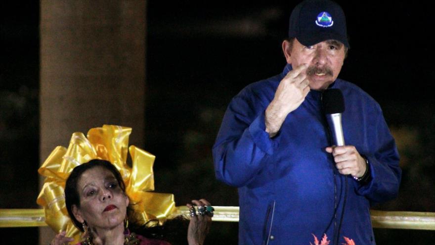 El presidente de Nicaragua, Daniel Ortega, durante la inauguración del paso elevado de Nejapa en Managua, capital, 21 de marzo de 2019. (Foto: AFP)