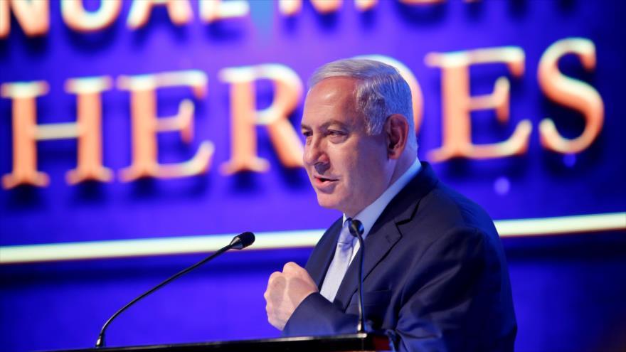 Premier israelí, Benjamín Netanyahu, habla en un evento, 14 de mayo de 2019. (Foto: AFP)