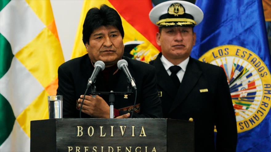 El presidente de Bolivia, Evo Morales, ofrece un discurso en La Paz, 17 de mayo de 2019. (Foto: AFP)