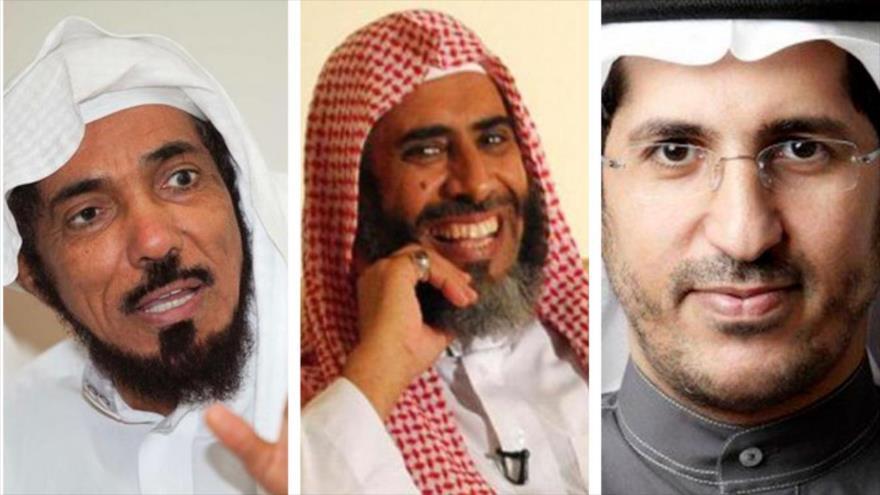 Los eruditos y académicos saudíes el sheij Salman al-Odah, Awad al-Qarni y Ali al-Omari (de izq. a dcha.), que serán posiblemente ejecutados en Arabia Saudí.