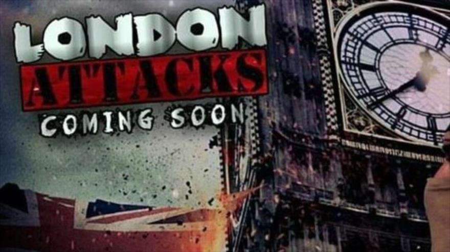 Una parte de un cartel de Daesh, publicado el 22 de mayo de 2019, en el que jura lanzar ataques contra Londres, la capital británica.