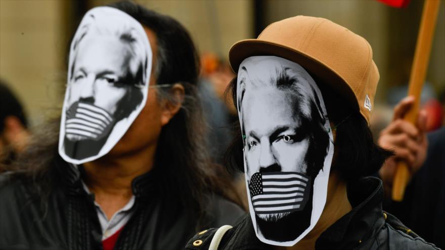 Una manifestación en apoyo a Julian Assange, el fundador de WikiLeaks, Berlín, capital de Alemania, 2 de mayo de 2019. (Foto: AFP)