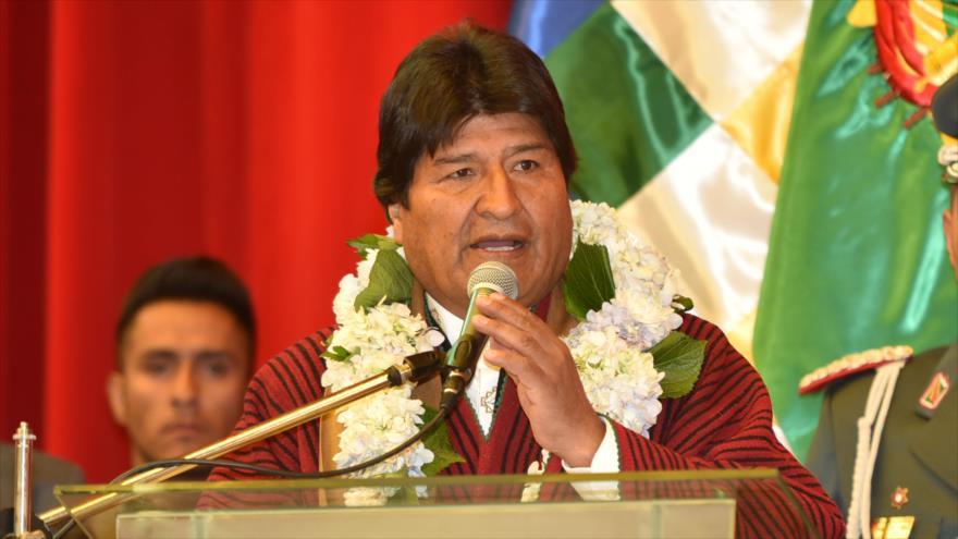 El presidente de Bolivia, Evo Morales, en un acto público, Chuquisaca, 24 de mayo de 2019. (Foto: ABI)