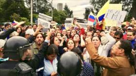 Manifestantes ecuatorianos exigen renuncia del presidente Moreno