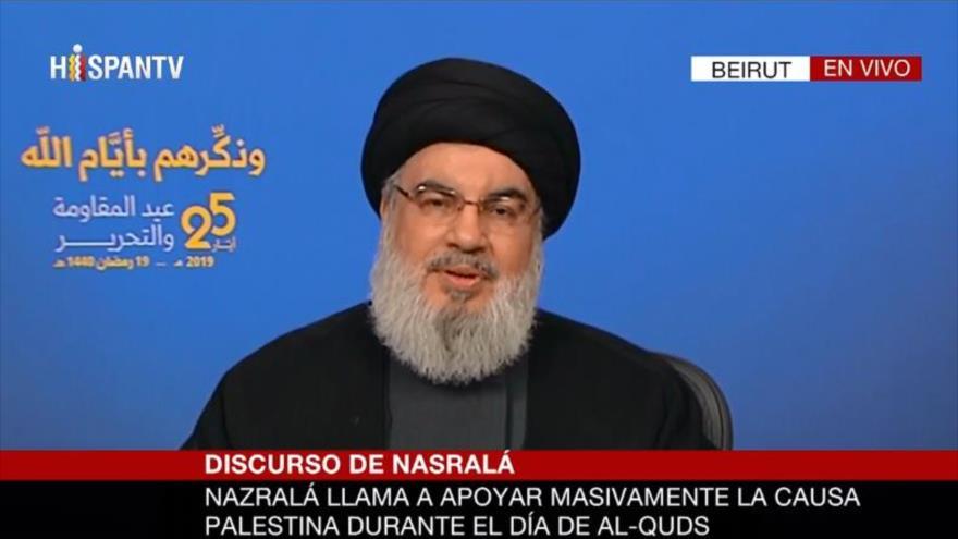 El líder de Hezbolá, Seyed Hasan Nasralá, en un discurso televisivo, 25 de mayo de 2019.