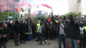 """""""Chalecos amarillos"""" protestan en Bélgica en medio de elecciones"""