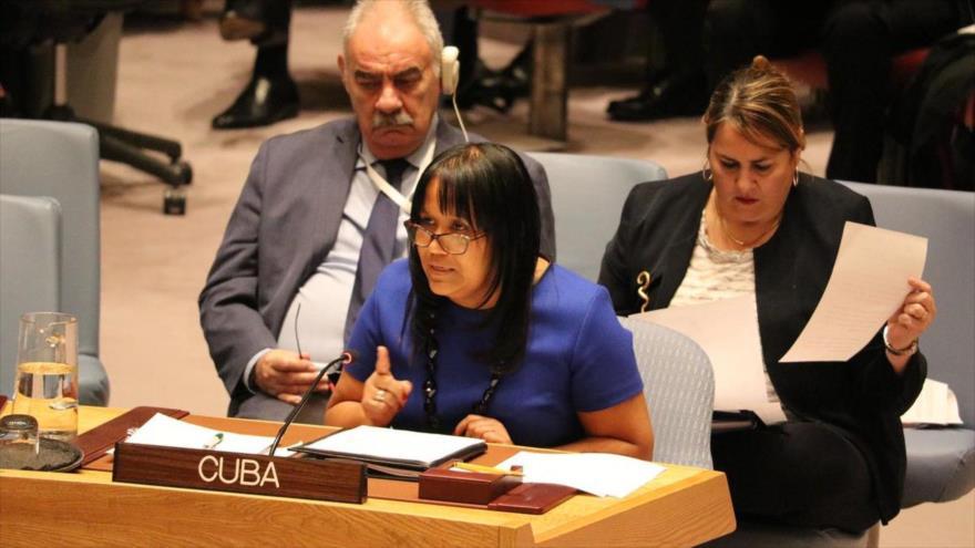 La vicecanciller cubana, Anayansi Rodríguez, habla en un evento en la ONU.