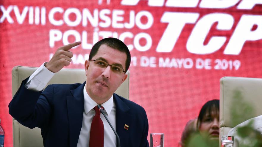 El canciller de Venezuela, Jorge Arreaza, pronuncia un discurso durante una cumbre en La Habana, capital de Cuba, 21 de mayo de 2019. (Foto: AFP)