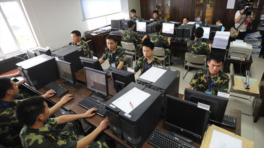 Uniformados chinos en la provincia de Anhui, en el este de China.