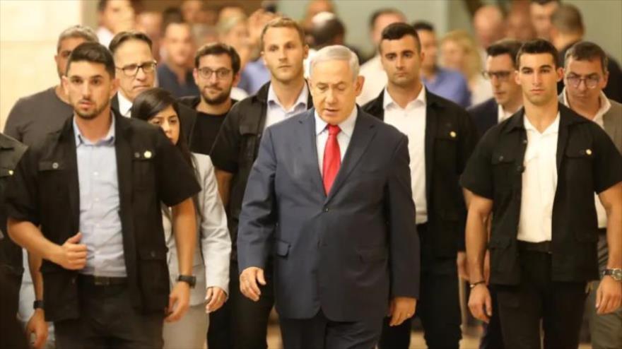 El primer ministro del régimen de Israel, Benjamín Netanyahu, en el parlamento, 29 de mayo de 2019.