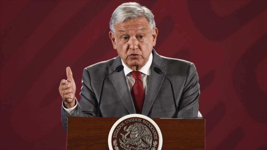 El presidente mexicano, Andrés Manuel López Obrador, habla en una rueda de prensa en la Ciudad de México, 31 de mayo de 2019. (Foto: AFP)