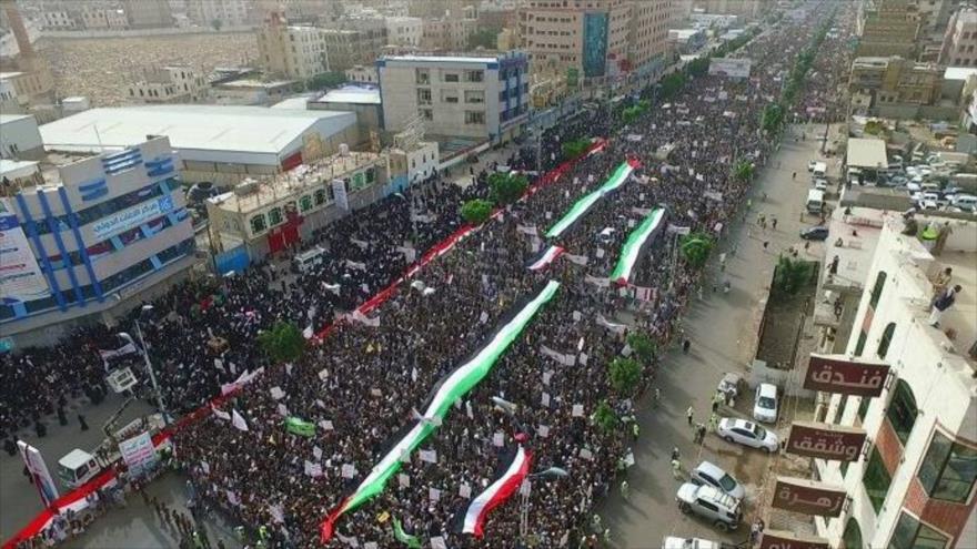 """Yemeníes gritan """"no al acuerdo de Trump"""" en Día Mundial de Al-Quds"""
