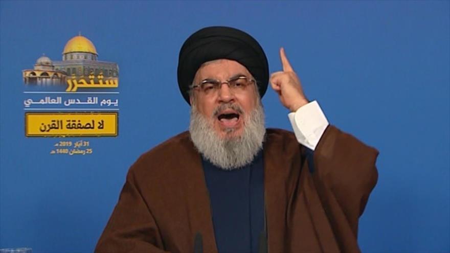 El líder de Hezbolá, Seyed Hasan Nasralá, habla con motivo del Día Mundial de Al-Quds, 31 de mayo de 2019.