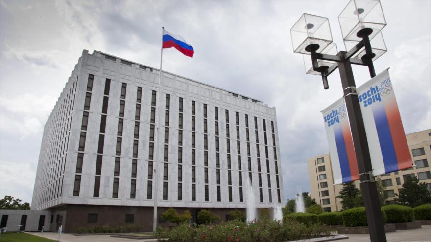 La embajada de Rusia en EE.UU., ubicada en Washington DC, la capital estadounidense.