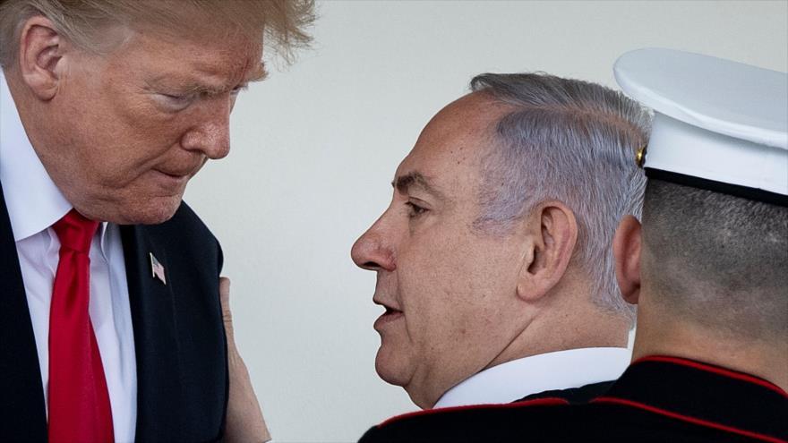 El presidente de EE.UU., Donald Trump (izq.), y el premier israelí, Benjamín Netanyahu, en la Casa Blanca, 25 de marzo de 2019. (Foto: AFP)