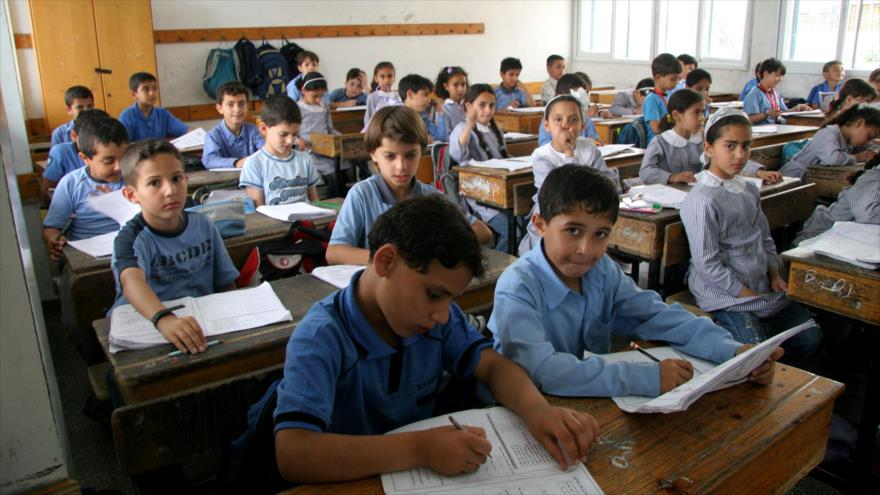 Estudiantes palestinos en una escuela en la ocupada Cisjordania.