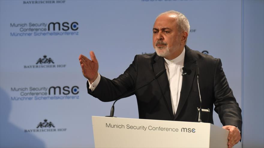 El ministro de Exteriores de Irán, Mohamad Yavad Zarif, en la Conferencia de Seguridad de Múnich, Alemania, 17 de febrero de 2019. (Foto: AFP)