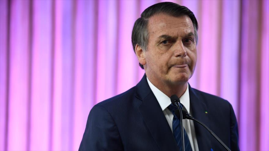 El presidente de Brasil, Jair Bolsonaro, en un discurso en Río de Janeiro, 20 de mayo de 2019. (Foto: AFP)