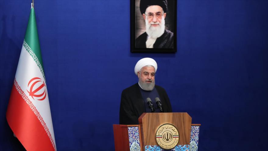 El presidente de Irán, Hasan Rohani, habla en una ceremonia en Teherán, 1 de junio de 2019. (Foto: president.ir)