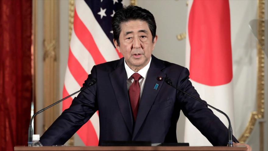 El primer ministro de Japón, Shinzo Abe, en una conferencia de prensa en Tokio, 27 de mayo de 2019. (Foto: AFP)