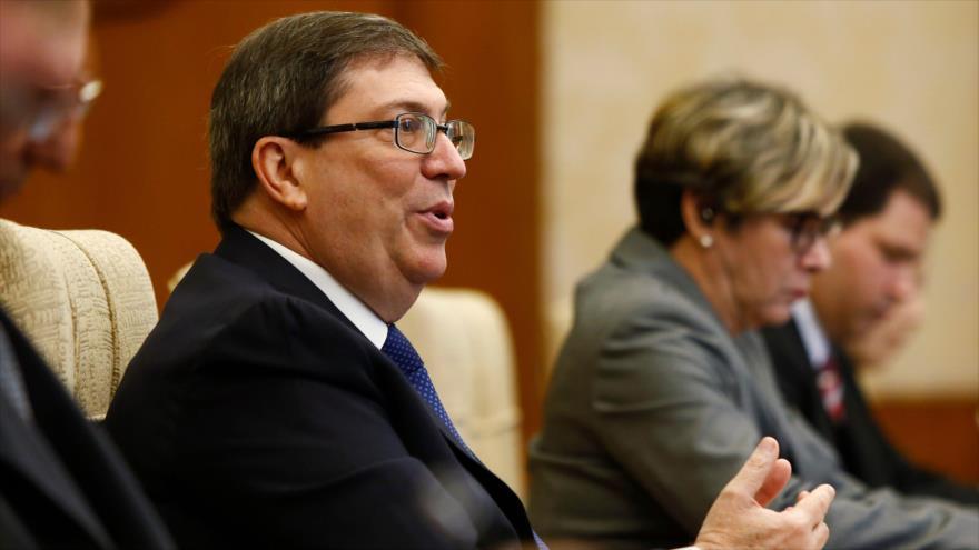 El canciller cubano, Bruno Rodriguez, durante una reunión con autoridades chinas, en Pekín, 29 de mayo de 2019. (Foto: AFP)