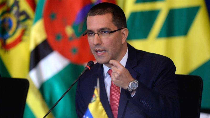 El canciller venezolano, Jorge Arreaza, en una reunión del ALBA, en Caracas (capital venezolana), 8 de agosto de 2017. (Foto: AFP)