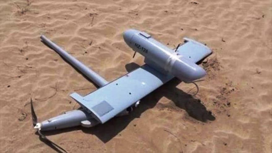 Uno de los drones de los invasores abatidos por las fuerzas yemeníes, 6 de junio de 2019.