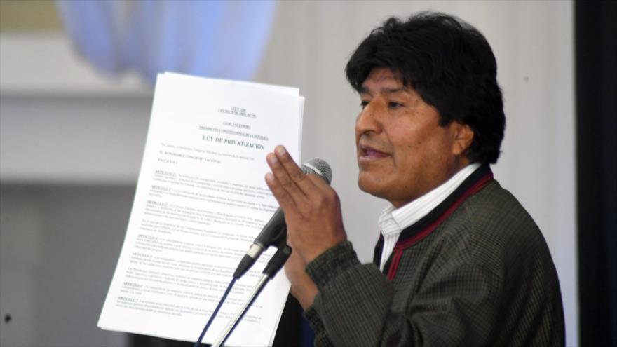El presidente de Bolivia, Evo Morales, en un acto, 8 de junio de 2019. (Foto: ABI)