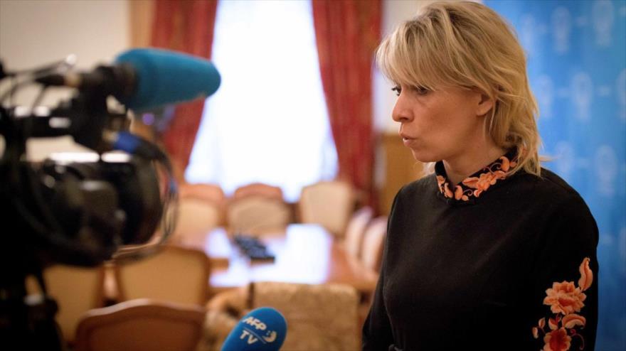 La portavoz de la Cancillería rusa, María Zajárova, en una entrevista con una agencia francesa, 14 de marzo de 2018. (Foto: AFP)
