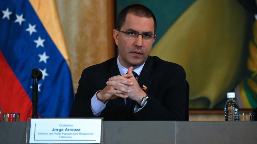 El canciller de Venezuela, Jorge Arreaza, ofrece una rueda de prensa en Caracas, la capital venezolana, 10 de mayo de 2019. (Foto: AFP)