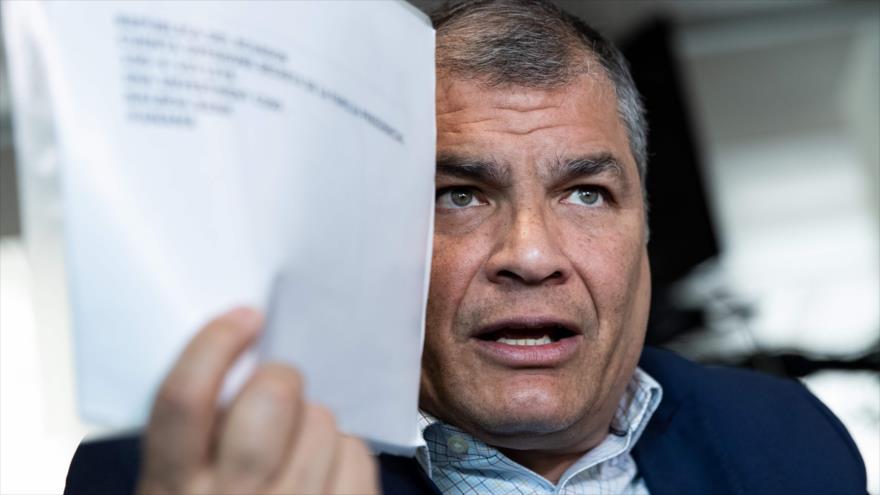 El expresidente de Ecuador Rafael Correa durante una entrevista con la agencia de noticias AFP en Bruselas (Bélgica), 11 de abril de 2019. (Foto: AFP)
