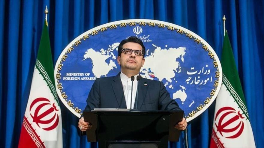 El portavoz de la Cancillería iraní, Seyed Abás Musavi, habla en una rueda de prensa en Teherán, 10 de junio de 2019. (Foto: Tasnim)