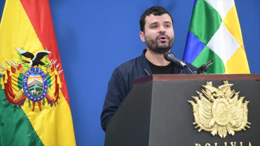 El ministro de Comunicación de Bolivia, Manuel Canelas, habla ante la prensa en Casa Grande del Pueblo (La Paz, capital), 10 de junio de 2019. (Foto: ABI)