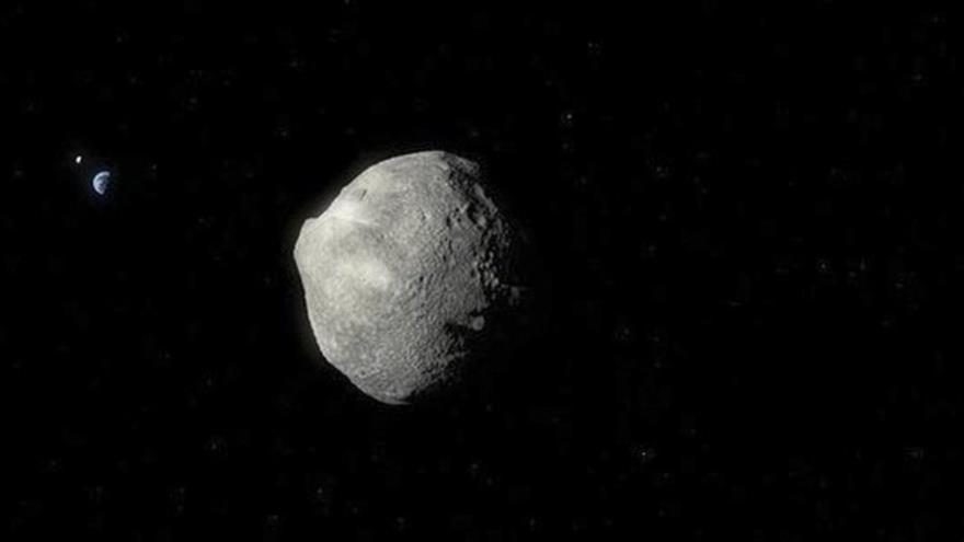 Representación gráfica de un asteroide que se aproxima a la Tierra.