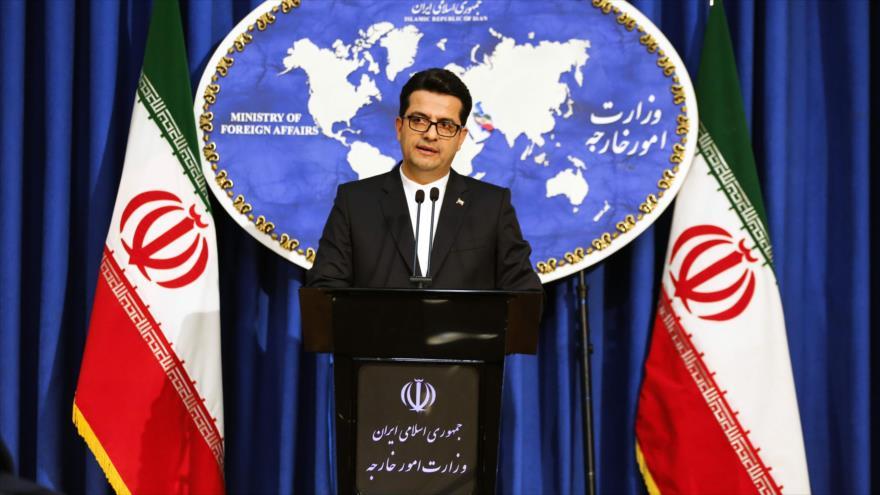 El portavoz de la Cancillería iraní, Seyed Abás Musavi, ofrece una rueda de prensa en Teherán, capital de Irán, 28 de mayo de 2019. (Foto: AFP)