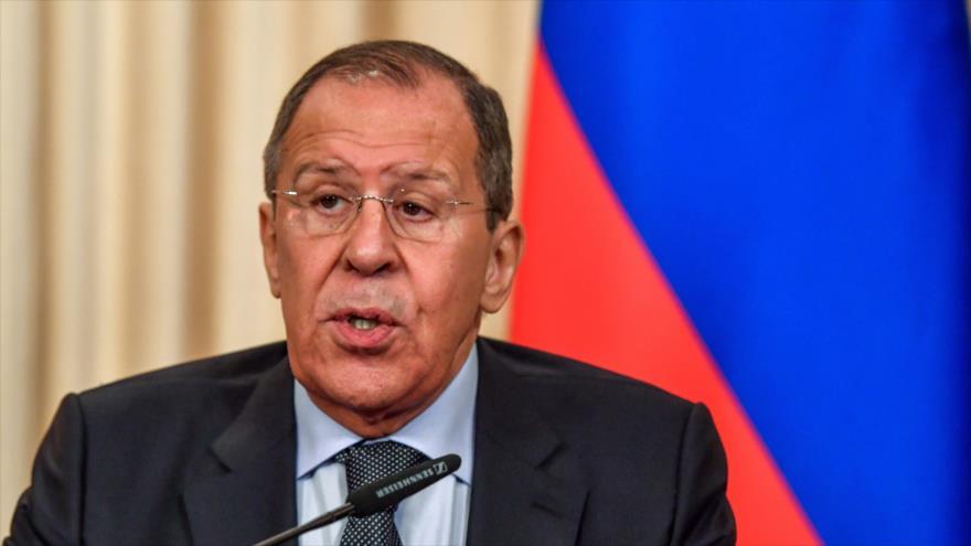 El canciller ruso, Serguéi Lavrov, habla en una rueda de prensa en Moscú, la capital, 10 de junio de 2019. (Foto: AFP)