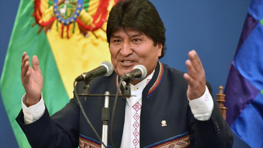 El presidente boliviano, Evo Morales, ofrece un discurso en La Paz, 9 de mayo de 2019. (Foto: AFP)
