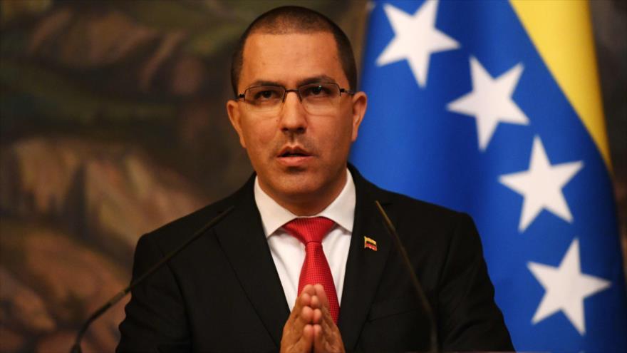Jorge Arreaza, canciller de Venezuela, habla en una confrencia de prensa en Rusia, 5 de mayo de 2019. (Foto: AFP)