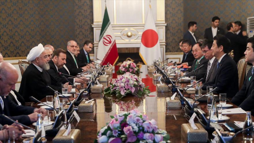 La reunión entre las delegaciones de Irán y Japón en Teherán, la capital persa, 12 de junio de 2019. (Foto: President.ir)