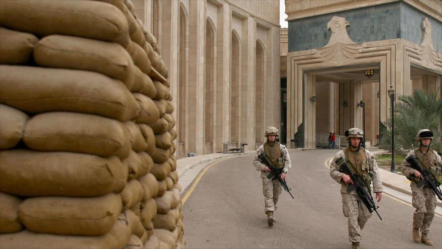 Las fuerzas estadounidenses en la embajada de Estados Unidos en Bagdad, capital iraquí.
