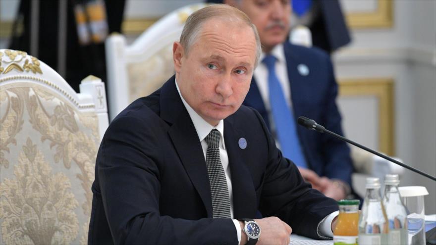 El presidente ruso, Vladimir Putin, asiste a una reunión de la OCS en Biskek, Kirguistán, 14 de junio de 2019. (Foto: AFP)