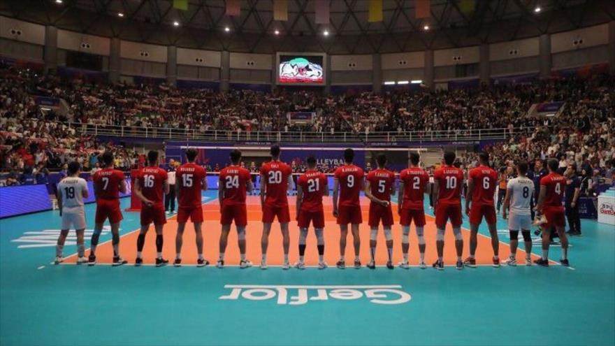 El partido entre la selección de voleibol de Irán y la de Canadá, celebrado en Urmía, en Irán, 14 de junio de 2019.