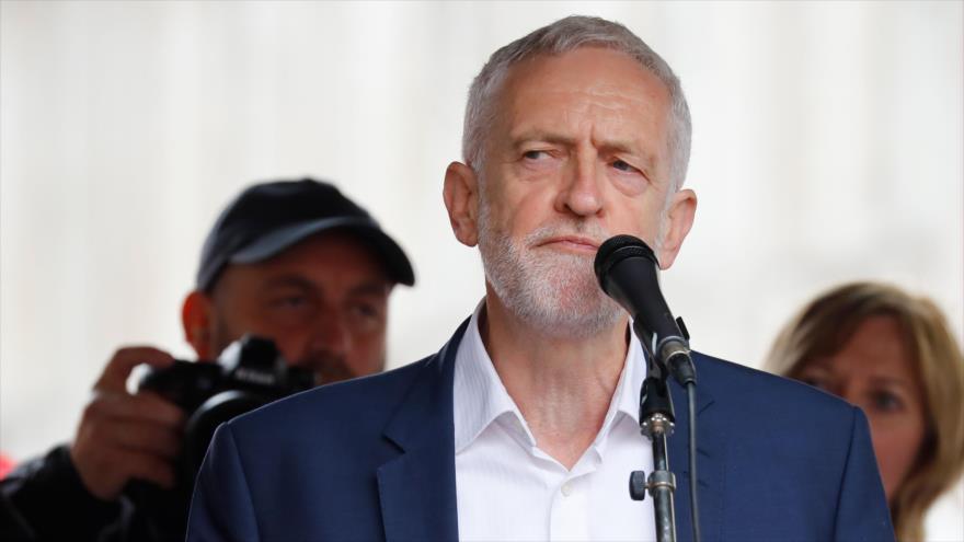 El líder del Partido Laborista (PL) británico, Jeremy Corbyn, ofrece un discurso en Londres, 4 de junio de 2019. (Foto: AFP)