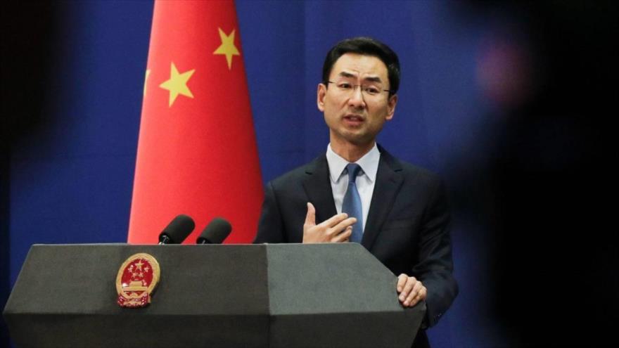 El portavoz del Ministerio de Exteriores de China, Geng Shuang, en una conferencia de prensa.