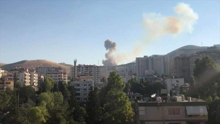 Primera imagen de la explosión registrada en la ciudad de Damasco, capital de Siria.