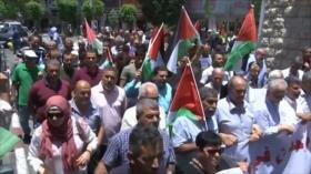 Palestinos marchan en rechazo de acuerdo de siglo