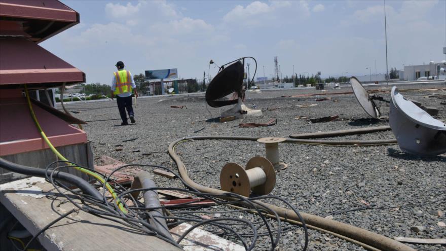 Daños materiales producidos por un ataque yemení contra el Aeropuerto de Abha, en la provincia saudí de Asir (sureste), 13 de junio de 2019. (Foto: AFP)