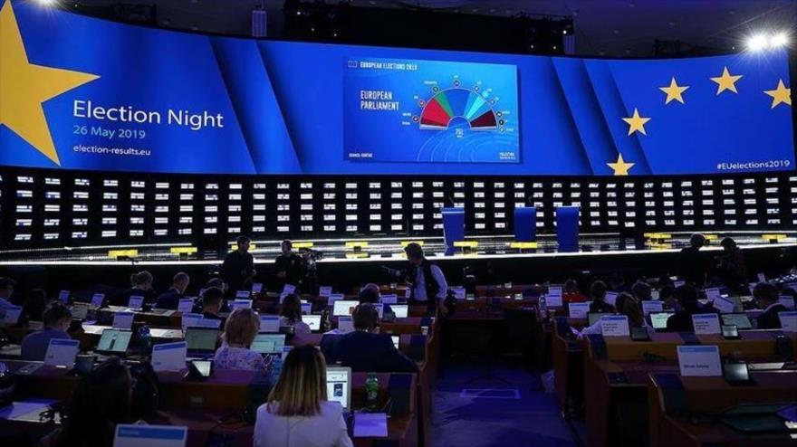 Salón de plenarias para las elecciones en el Parlamento Europeo (PE) en Bélgica, 26 de mayo de 2019.